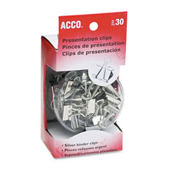 Acco Presentation Clips, Steel/Nickel, Satin Silver Finish, 30 Asst. Size Clips/Box