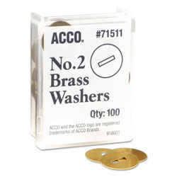 "Acco Washers for Prong Paper Fasteners 1 1/4"" 4"" Long, 100/Box"