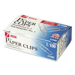 Acco Smooth Finish Premium Paper Clips, No. 1 Size