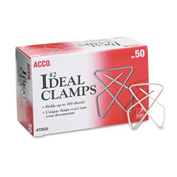 "Acco Small (1 1/2"") Ideal Clamps, 50 Clamps per Box"