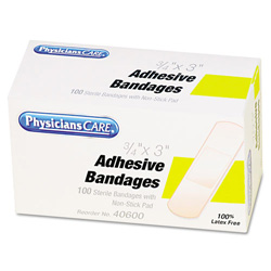 "Physicians Care First Aid Plastic Bandages, 3/4"" x 3"", 100/Box"