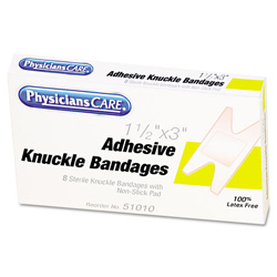 Physicians Care First Aid Fabric Knuckle Bandages, 8/Box
