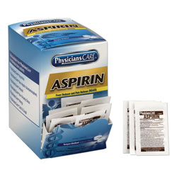 Physicians Care Aspirin Tablets, Two Per Pack, 50 Packs Per Box