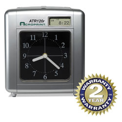 Acroprint Time Recorder Time Recorder 010212000 Model Atr120 Analog/LCD Automatic Time Clock