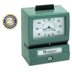 Acroprint Time Recorder Time Recorder 011070411 Model 125 Analog Manual Print Time Clock With Month/Date/0-12 Hours/Minutes