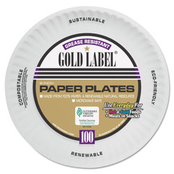 AJM Packaging Coated Paper Plates, 9 Inches, White, Round, 100/Pack