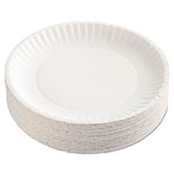 "AJM Packaging Disposable 9"" Paper Plates, White, 12 Bags of 100 Plates"