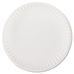 "AJM Packaging Disposable 9"" Paper Plates, White, 10 Bags of 100 Plates"