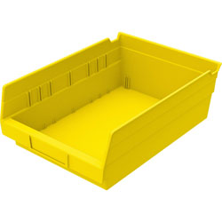 "Akro-Mills Shelf Bin, 8 3/8""Wx11 5/8""Dx4""H, Yellow"