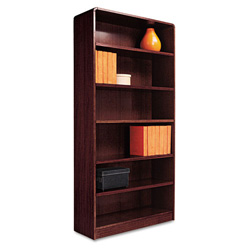 "Alera Wood Veneer 6-Shelf Radius Corner Bookcase, Finished Back, 36"" x 12"" x 72"", Mahogany"