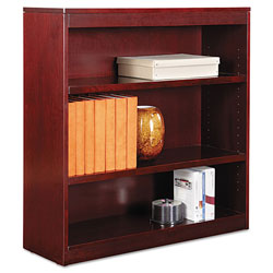 "Alera Wood Veneer 3-Shelf Square Corner Bookcase, Finished Back, 36"" x 12"" x 36, Mahogany"