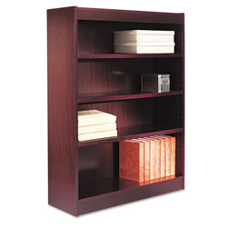 "Alera Wood Veneer 4-Shelf Square Corner Bookcase, Finished Back, 36"" x 12x 48"", Mahogany"