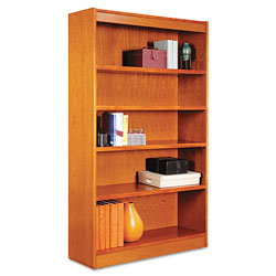 "Alera Wood Veneer 5-Shelf Square Corner Bookcase, Finished Back, 36"" x 12"" x 60"", Cherry"