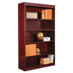 "Alera Wood Veneer 5-Shelf Square Corner Bookcase, Finished Back, 36"" x 12"" x 60"", Mahogany"