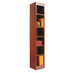 "Alera Wood Veneer 6-Shelf Narrow Profile Bookcase, Finished Back, 12"" x12 "" x 72"", Cherry"