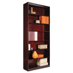 "Alera Wood Veneer 7-Shelf Square Corner Bookcase, Finished Back, 36"" x 12"" x 84"", Mahogany"
