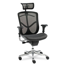 Alera Aluminum EQ Series Ergonomic Multifunction High Back Mesh Chair