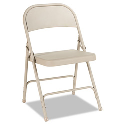 Alera Folding Chair with 2-Brace Support Tan (4), Textured Finish