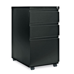 "Alera Three Drawer Mobile File Pedestal with Full Length Pull, 23"" Deep, Black"