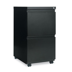 "Alera Two Drawer Mobile File Pedestals with Full Length Pull, 19 1/4"" Deep, Black"