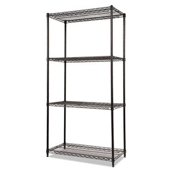 "Alera Wire Shelving Starter Kit, 36"" x 18"", 4 Shelves, Black"
