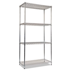 "Alera Industrial Wire Shelving Starter Kit, 36"" x 18"", 4 Shelves, Silver"