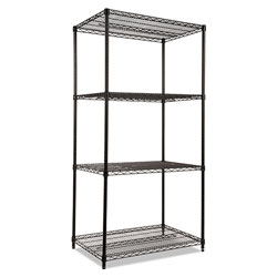 "Alera Wire Shelving Starter Kit, 36"" x 24"", 4 Shelves, Black"