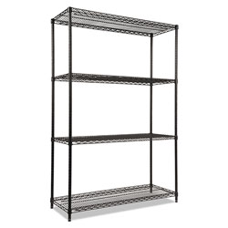 "Alera Wire Shelving Starter Kit, 48"" x 18"", 4 Shelves, Black"