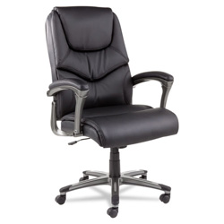 Alera Toliz Series No Tool Assembly High-Back Swivel/Tilt Chair, Black Leather