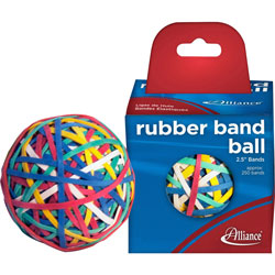 "Alliance Rubber Rubber Band, Ball, 2"", 250 Bands, Assorted"