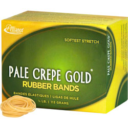 "Alliance Rubber Rubber Bands, Size 12, 1/4 lb., 1 3/4""x16"", Pale Crepe"