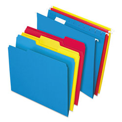 Pendaflex Combo Kit Hanging File Folders, 1/3 Tab, Letter, Assorted, 12 Sets/Box
