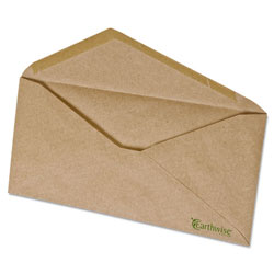 Ampad Earthwise 100% Recycled Paper Envelope, V-Flap, #10, Natural Brown, 500/Box
