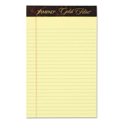 Ampad Gold Fibre Writing Pads, College/Medium, 5 x 8, Canary, 50 Sheets