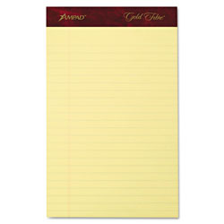 Ampad Gold Fibre Writing Pads, Jr. Legal Rule, 5 x 8, Canary, 50 Sheets, 4/Pack