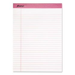 Ampad Pink Writing Pad, Legal/Wide, 8 1/2 x 11, Pink, 50 Sheets, 6/Pack