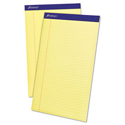 Ampad Perforated Writing Pad, 8 1/2 x 14, Canary, 50 Sheets, Dozen