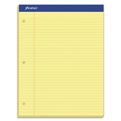 Ampad Double Sheets Pad, Legal/Wide, 8 1/2 x 11 3/4, Canary, 100 Sheets
