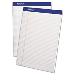 Ampad Perforated Writing Pad, 8 1/2 x 11 3/4, White, 50 Sheets, Dozen