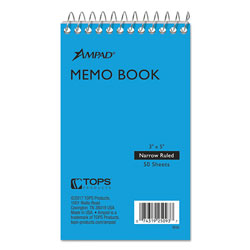 Ampad Wirebound Pocket Memo Book, Narrow, 3 x 5, White, 50 Sheets