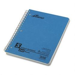 Ampad Wirebound 5 Subject Notebook, 4 Flush Cut Dividers, College Rule, 240 Sheets