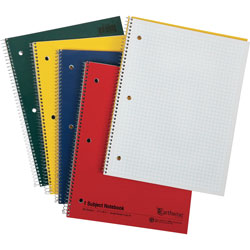 Oxford Earthwise 100% Recycled Single Subject Notebooks, 8 1/2 x 11, WE, 3-Hole, 80 SH