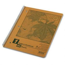 Ampad Recycled Autumn Leaf Wirebound Notebook, 3 Hole, 1 Subject, 80 Sheets