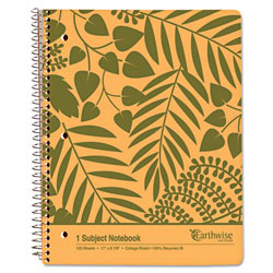 Ampad Earthwise Recycled Paper Notebook, College/Medium, 8 7/8 x 11, White, 100 Sheets
