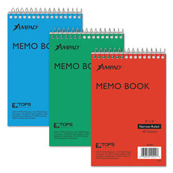 Ampad Wirebound Pocket Memo Book, Narrow, 4 x 6, White, 40 Sheets, 3/Pack