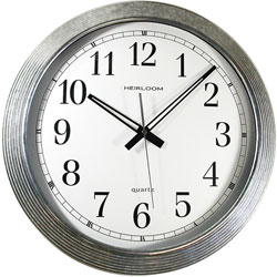 "Ampad Wall Clock, Galvanized Metal, 16"", Silver"