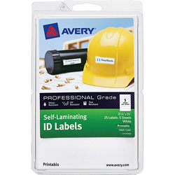 Avery Self-Laminating Labels, Printable, 25/PK, White