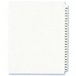 Avery Index Tabs, #426-450, White