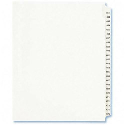 Avery Index Tabs, #451-475, White