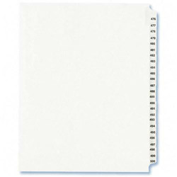 Avery Index Tabs, #476-500, White